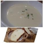 トラットリアコローレ - ◆(共通)ジャガイモと白いんげんのポタージュ・・これ面白い味わいでした。 白いんげんの風味が強いのですが、スープにするとこういう味わいになるのですね。 ◆パン・・一人1枚。