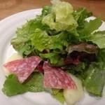 トラットリアコローレ - ◆(共通)サラダ・・グリーンリーフタップリで少しハムも添えられています。 ドレッシングは優しい味わいですけれど、量が少ないですね。