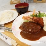 ピーコック - 料理写真:2016年1月 ピーコックランチ【1200円】有頭エビに手作りハンバーグとは!まともな洋食です!