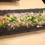 喜輪 - お好みカルパッチョ500円は油カレイ