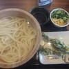 丸亀製麺 - 料理写真:釜揚げうどん大390円が190円&菜花天110円(2016.3.1)