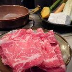 しゃぶ亭 - お昼の上牛ロースしゃぶ定食(100g)1300円