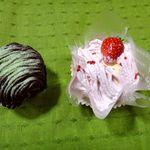 ろまん亭 - 抹茶のチョコモンブラン&北海道いちごのモンブラン(2013.3 西武池袋本店・春の北海道うまいもの会)