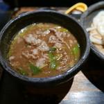 山元麺蔵 - 香味油の豚肉のつけ汁