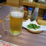 日本酒道場 橋 - ビール 枝豆