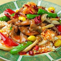 6.鴨ロースとおこげと野菜の山椒唐辛子炒め