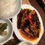ドラゴンレッドリバー - 茄子と豚肉ピリ辛炒め定食
