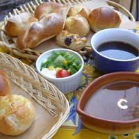 カフェ ガーデン - 日替りスープ&パンセット¥690(税抜き)スープ+ブレッドバーのパン2個+サラダ+ドリンク)