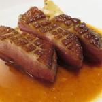 48743852 - メイン:鴨胸肉のロースト 茸と菊芋のソテー 甘酸っぱい柑橘のソース2