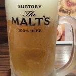 肉バル ウーズチャーム - 生ビールはモルツ580円