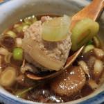 蕎肆 穂乃香 - 北斎せいろ;つけ汁;大きなつくねがゴロンと