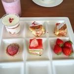 スカイラウンジ トップ オブ ヒロシマ - グラスショートケーキ・ミルフィーユ・フレジェ・苺タルト・苺スムージー