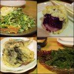 海音 - ゴーヤーチャンプルー、紅芋天ぷら、もずく天ぷら、海ぶどう