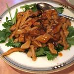 夜来香 - 香菜と豚肉炒め