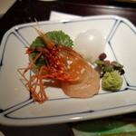 みちば和食 銀座 たて野 - お造り:活ボタン海老、アオリイカ、真鯛