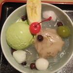 月ヶ瀬 - 桜抹茶クリームあんみつ