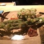 千翠 - タラノメ、蕗の薹、キクイモ、新生姜の天ぷら