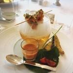 リストランテ オルケストラータ - 桜海老と菜の花のゼッポリーニと竹の子のフリット 山葵の香るガスパチョを添えて