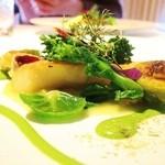コシモ・プリュス - 筍メバルソテー 焼き芽キャベツ 春キャベツのソース 菜花ソース
