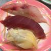 一平鮨 - 料理写真:一平鮨(茨城県日立市大和田町)手前から〜青柳・マグロ上赤身・いさき