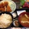 割烹 ゆず - 料理写真:2品選んで、ヒレカツとまぐろ刺身で950円