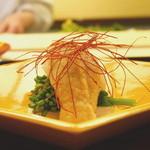 祇園 末友 - 先付  ホタテと菜の花の酢味噌和え