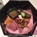 京料理 春神 - 鴨ロース、雲丹揚げ、蕎麦の実など