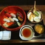 西丸漁港 - 寿し天ぷら定食❤ (*゚∀゚人゚∀゚*)♪