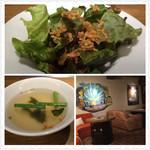 熟成焼肉 肉源 - サラダ、スープ、店内のソファ席