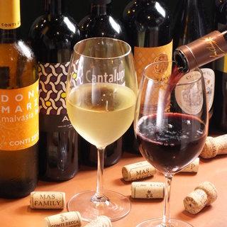 ワインの種類も豊富☆すべてグラスで楽しめます♪