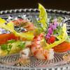 銀座うかい亭 - 料理写真:車海老のマリネ 春野菜の彩り