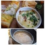 64 Bistro - ◆「コーンのキッシュ」は美味しい。ミニグラタンは下にカットしたパンが入りますが、お味は好みではないですね。 ◆コンソメスープ・・玉ねぎがタップリ入っていますので、風味も加わり美味しい。