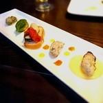 49807196 - 牡蠣の前菜5種食べ比べ    750円