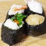 蒲田屋 - 山ごぼう紫蘇、えび(塩)、鮭、茶めし
