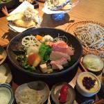 蕎麦 いち - ★★★★ お昼のなごみ膳 そば、温野菜、サラダ、刺身、天ぷら3種、小鉢3種、デザート