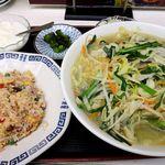 満洲園 - 満州園(タンメン+炒飯 800円 ※サービスランチのセット)