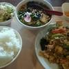 金鳳  - 料理写真:豚肉と玉子の木耳炒め定食 (半ラーメン)  ¥750