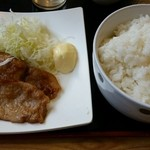 うるとら食堂 -  豚ロース生姜焼(誕生祭価格税別139円)&ライス(大盛も税別134円)