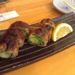 3回楽しめる京だし豚しゃぶしゃぶ はなぜん - 料理写真:九条ねぎの豚バラ巻