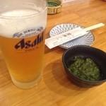 3回楽しめる京だし豚しゃぶしゃぶ はなぜん - 料理写真:生ビールとお通し
