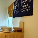 焼肉錦平 - 大井肉店の暖簾が壁に