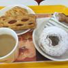 ミスタードーナツ - 料理写真:ホットカフェオレ エビグラタンパイ フランクパイ フィナンシェドーナツシュガー ポン・デ・エンゼル