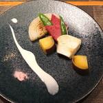 神楽坂 鉄板焼 中むら - 季節の焼き野菜 白ワインのクリームと桜塩っで