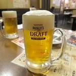 宇奈とと - ドリンク写真:生ビール、泡がモリモリで素晴らしい!