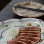 蕎麦・酒 青海波 - 鴨ロース こちらもぎりぎり火が入った感じ。味付けもよくやわらか。