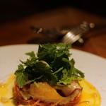 ポアジェ - 料理写真:前菜 北寄貝の炙りとオレンジ+夏野菜