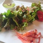 レストラン コンテッラ - オードブル(3点盛り) サラダ・有頭海老とキュウィのタルタル