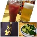 とり乃屋 - ◆最初に「ビール」と「カシスオレンジ」を。 お通し(300円)は胡瓜の浅漬け風。