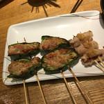 串鳥 - 料理写真:ピーマンの肉詰めと山芋の豚巻き山わさび添え