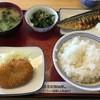 和歌山小豆島食堂 - 料理写真:塩サバ焼、コロッケ、菜の花の辛子和え、ライス、味噌汁201603